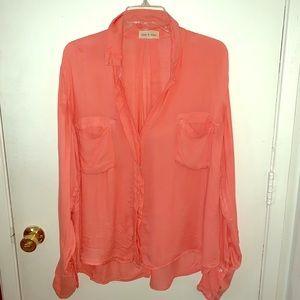 Cloth & Stone Button Down Shirt | Sz M | Coral